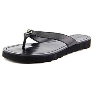 Coach Womens 6.5 Black Shelly Leather Sandal